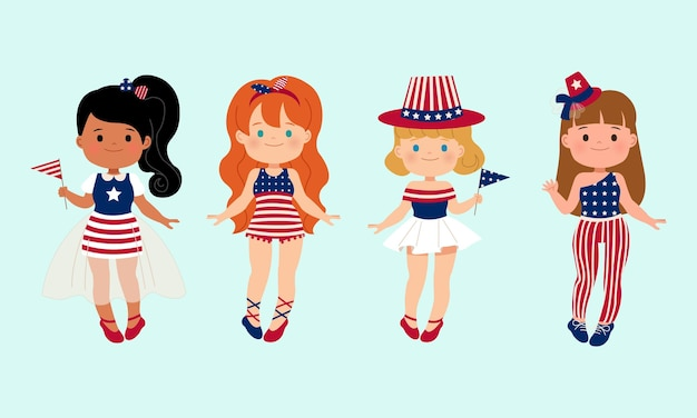 Cute girls of different races wearing 4th of july themed costume flat