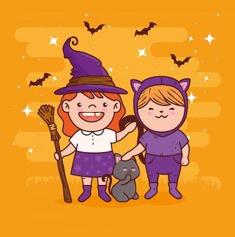 ハッピーハロウィンのお祝いのための魔女と猫を装ったかわいい女の子ベクトルイラストデザイン
