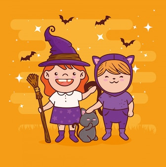 Cute girls disguised of witch and cat for happy halloween celebration vector illustration design