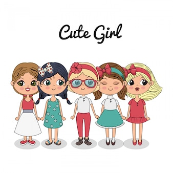 Cute girls group standing fashionable friends