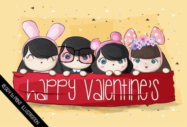 Cute girls happy valentines