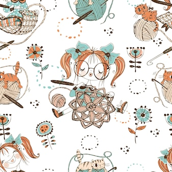 かわいい女の子の針編みのかぎ針編みの編み物パターン
