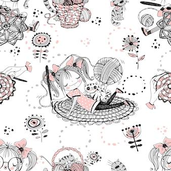 かわいい女の子の針編みの女性のかぎ針編みの編み物。シームレスパターン。ベクトル。