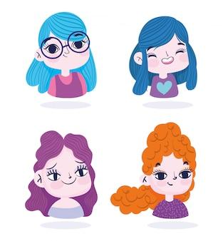 Cute girls portrait cartoon character