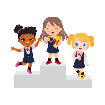 Cute girls in school uniform standing in podium as winner of gold, silver, and bronze medal.