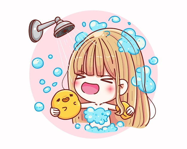 幸せで漫画のキャラクターデザインでかわいい女の子のシャワー。