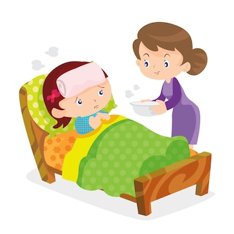 Cute girls take care of sick mother