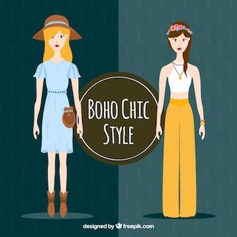 Cute girls wearing boho clothes