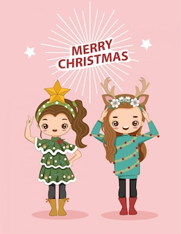 Cute girls wearing christmas costume vector