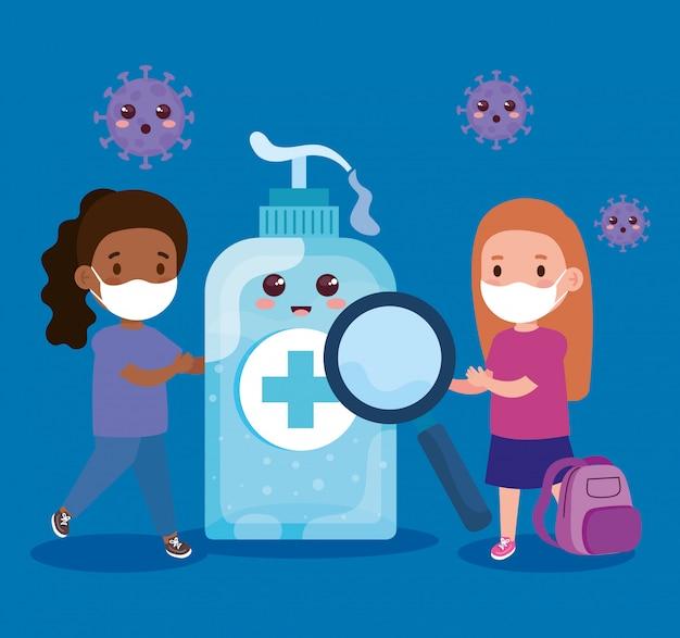 コロナウイルスcovid 19とかわいいボトル消毒イラストデザインを防ぐために医療用マスクを着ているかわいい女の子