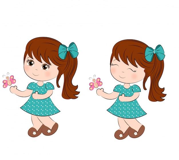 蝶のかわいい女の子