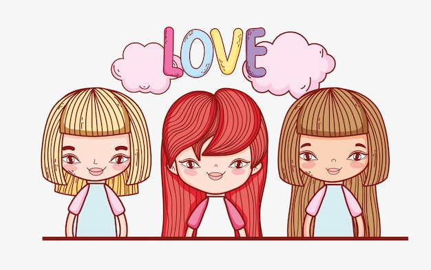 Cute girls with hairstyle and clouds with love message