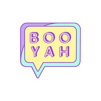 Cute and girly boo yah badge vector