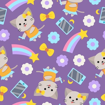 Cute girly cat cartoon seamless pattern with smartphone
