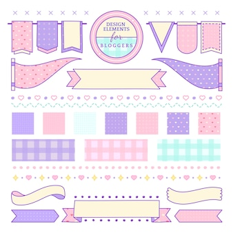 Cute and girly design elements for bloggers vector