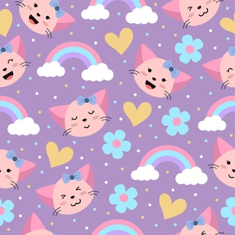 Cute girly pink cat cartoon seamless pattern with heart and flower