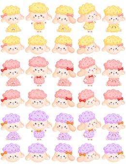 Cute girly sheep vector set