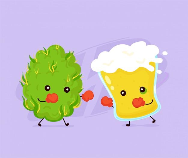 Cute glass of beer fight with marijuana weed bud.