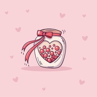 하트 슬롯에 사탕과 붉은 나비 매듭이있는 귀여운 유리 병