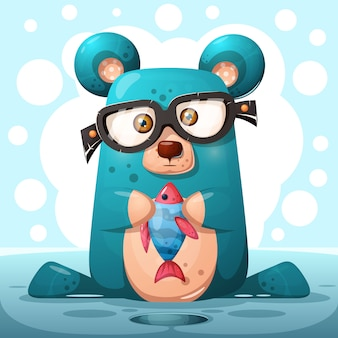 Cute glasses bear with fish.