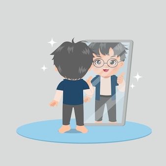 거울 앞에 서있는 귀여운 안경 소년과 자신에게 엄지 손가락을 제공합니다. 자기 사랑 동기. 높은 평가.