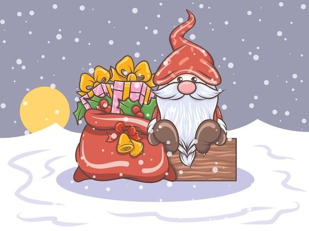 かわいいノームとギフト袋の漫画のキャラクター-クリスマスイラスト