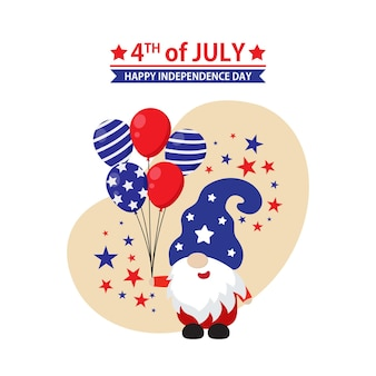Cute gnome celebrates 4th of july usa independence day flat