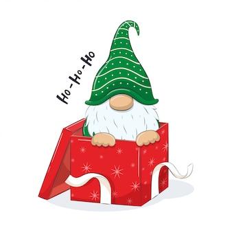 Cute gnome in gift box.