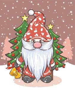 クリスマスのイラストにジングルベルを保持しているかわいいノーム