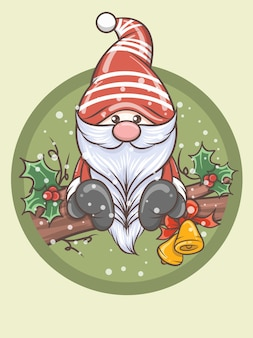 Cute gnome holding jingle bells - christmas illustration