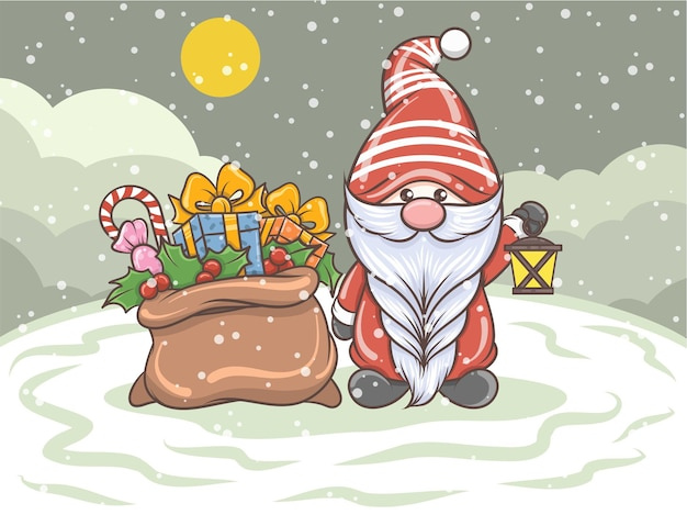 Cute gnome holding solar lantern and gift sack - christmas illustration