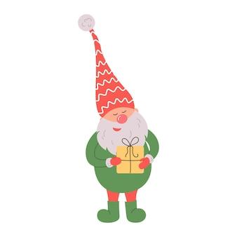흰색 배경에 산타 모자에 귀여운 그놈 스칸디나비아 크리스마스 엘프 벡터 일러스트 레이 션
