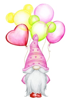 Cute, gnome, in pink, hat, stands, with balloons, balloons, different colors. watercolor, concept, on an isolated background, for the holiday, valentine's day.