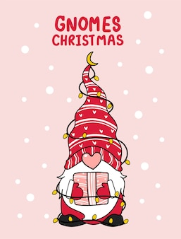 Cute gnome pink nose christmas with light cartoon illustration
