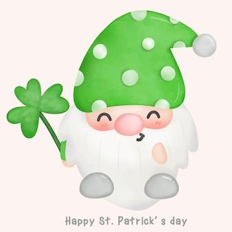 세인트 패트릭의 날 카와이 스타일 클로버 잎 그림을 들고 귀여운 그놈 수채화 만화