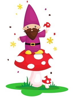 Cute gnome with mushroom