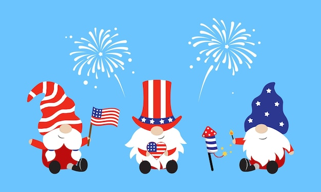 Cute gnomes in american style costumes 4th july celebration flat