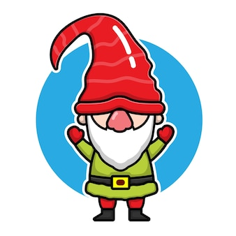 Cute gnomes cartoon character christmas concept illustration