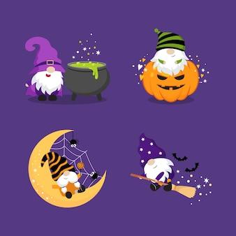 Симпатичные гномы картинки на день хэллоуина маленькая ведьма карлик плоский векторный мультяшный дизайн