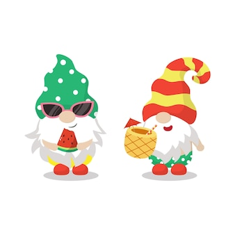 Cute gnomes enjoy summer with watermelon and pineapple drink holiday flat Premium Vector