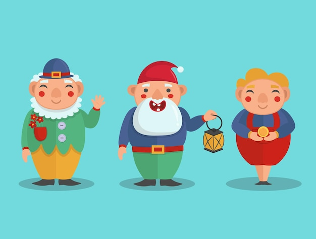 Cute gnomes in a flat style, vector illustration.
