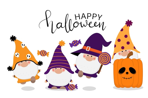 Cute gnomes in halloween costume candy cat and orange pumpkin seamless pattern