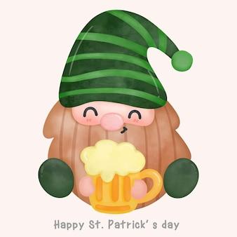 聖パトリックの日のかわいい漫画のビールのイラストを保持しているかわいいノーム水彩画
