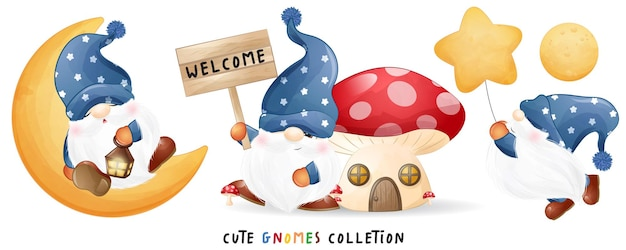 Cute gnomes in watercolor style illustration set