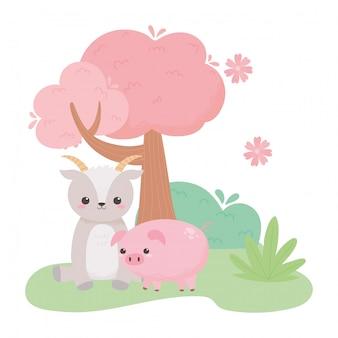自然の風景の中のかわいい山羊と豚の花ツリーブッシュ漫画動物