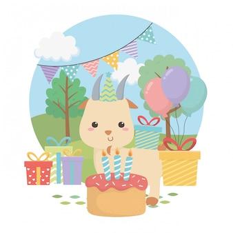 생일 파티 장면에서 귀여운 염소 동물 농장