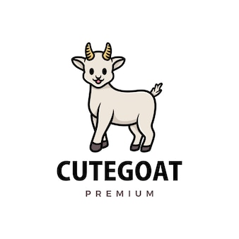 Cute goat cartoon logo  icon illustration