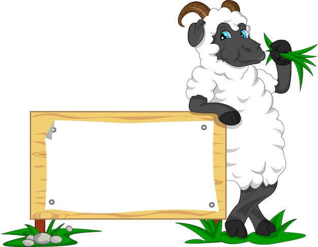 Cute goat cartoon with blank sign