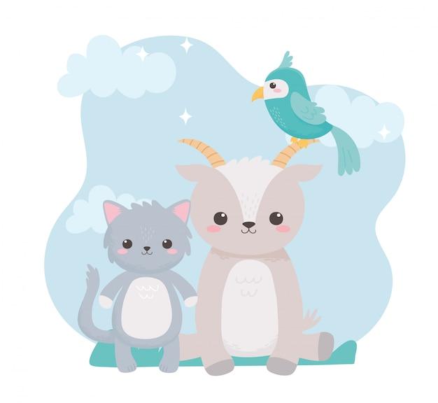 자연 풍경에 귀여운 염소 고양이와 앵무새 만화 동물