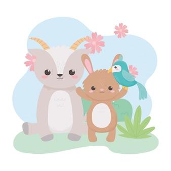 자연 풍경에 귀여운 염소 토끼 앵무새와 꽃 만화 동물